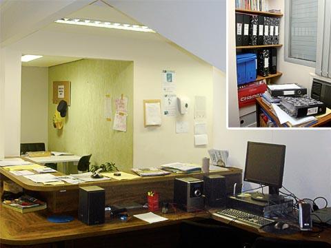 Interior do prédio ocupado; no detalhe, documentos de beneficiários da Coseas preservados pela ocupação (fotos: Mariana Midori)