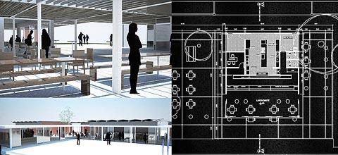 Projeções da nova cantina e do espaço de vivência. Ao lado, detalhe da planta da nova lanchonete (fotos: Pró-Salas/FAU–São Carlos)