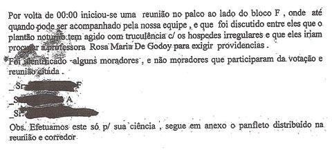 Denúncia da relatoria da vida pessoal de moradores do Crusp (Reprodução)