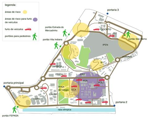 Mapa de áreas de risco na Cidade Universitária