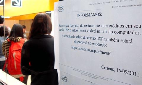 RU Card foi implantado no dia 16; tíquetes ainda são vendidos (foto: Bruno Capelas)