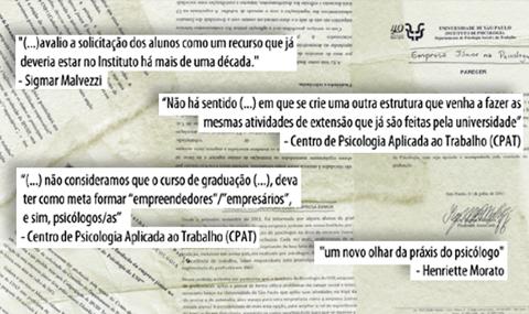 Trechos de declarações de docentes favoráveis e contrários à criação da Empresa Júnior no IP mostram a divergência de ideias sobre a questão (arte: Bruno Federowski)