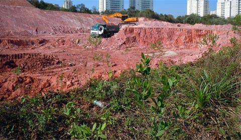 Com a construção do Centro de Convenções, parte da área já foi devastada (foto: Ricardo Cardim)