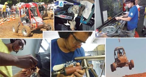 """Carros Baja são protótipos para uso """"off-road"""" feitos em aço. Em competições universitárias, devem ser pilotados por alunos (fotos: Arquivo da Equipe)"""