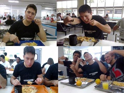 André Guima, aluno do Instituto de Astronomia, Geofísica e Ciências Atmosféricas, cumpriu o desafio de comer nos quatro bandejões (foto: Reprodução/Facebook)