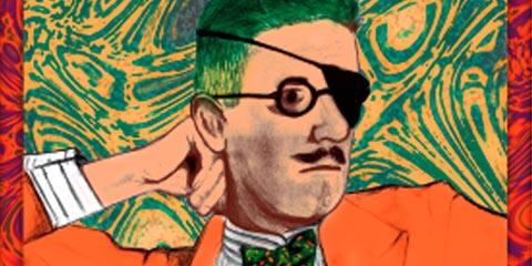 O irlandês James Joyce, autor de Ulysses (arte: Carolina Moniz e Vinícius Pereira)