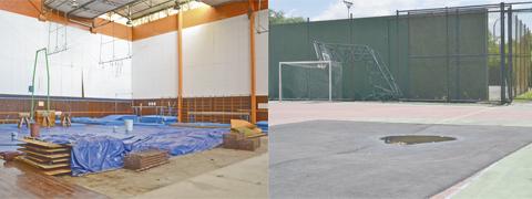 Dentre os projetos de reforma do CEPE, os módulos (foto à esquerda) estão em fase de licitação, e as quadras 9 e 10 (foto à direita) têm previsão de reforma ainda este ano. (Fotos: Patrícia Beloni)