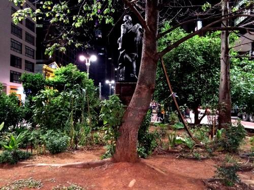 Horta do Ciclista, no canteiro central da Avenida Paulista, altura da Rua da Consolação (foto: Gustavo Nagib)