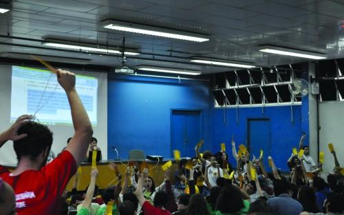 Reunião contou com cerca de 400 estudantes e promoveu discussões sobre questões relacionadas ao movimento estudantil uspiano (foto: Roberta Vassallo)