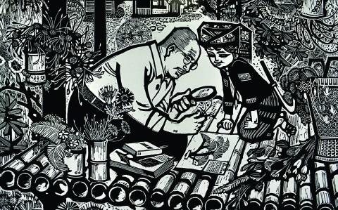 Avô está em casa (1989), xilogravura de Wei Zhi Ren, impressa e exposta na mostra localizada na ECA